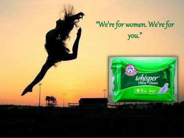 Woman jumping in air, sanitary pad