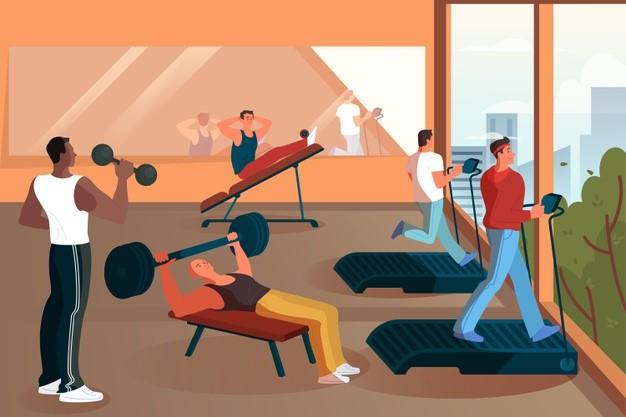 gym, men, bodies